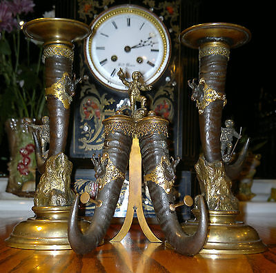 Rare Antique Austrian Bronze Black Forest Candlesticks & Pen/Quill Holder C1870s