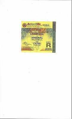 Liverpool v Arsenal League Cup 2nd Replay Match Ticket Stub 1988/89 @ Villa