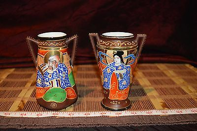 Two Vintage Asian Porcelain Small Satsuma Japanese Vase with handles