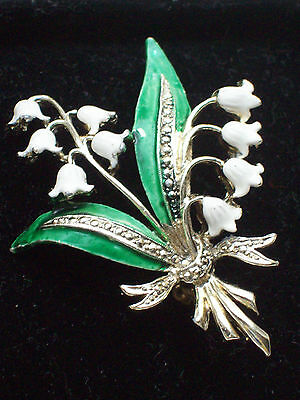 Rare Vintage Jewellery Signed Exquisite Enamel Lily Of The Valley Brooch/pin