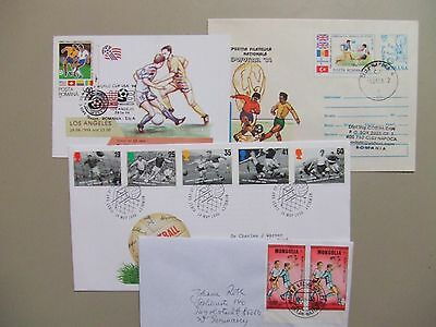 Four SOCCER covers:fdc,postal stationery,maxi card