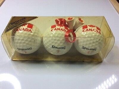 Set of 3 boxed golf balls - CANADA Maple Leaf - plus 2 tees - SPALDING