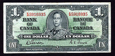 Bank Of Canada $1 Note E/m Gordon Towers - 1937 - Circulated