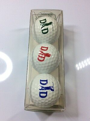 Set of 3 boxed golf balls - DAD - Spalding - ideal present for dad's!