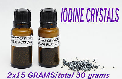 30 Grams 99.9 % Pure ACS USP Grade Elemental Iodine Crystals FREE FAST SHIPPING