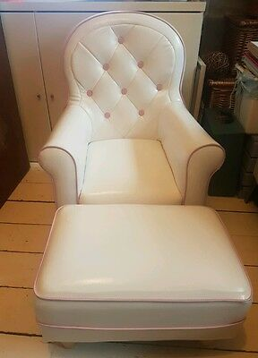 Sofine Kids White Vinyl Armchair and Foot Stool by Fineline Industries rrp £100