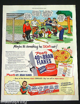 """Vintage 1950 POST'S 40% Bran Flakes Cereal """"get on the ball, Pop !"""" Cartoon ad"""