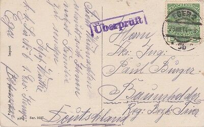Hungary-1914 WW 1 censored Austria 5 H green on Eger postcard cover to Germany