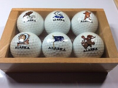 Set of 6 boxed special edition golf balls - ALASKA - c.1990 - sealed - Spalding
