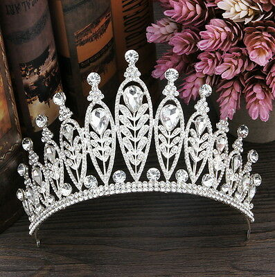 9cm High Large Leaf Drip Crystal Wedding Bridal Party Pageant Prom Tiara Crown