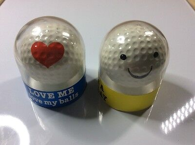2 presentation golf balls - JOKE THEME - Heart, Smiling face - Have a good lay