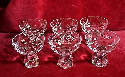 VINTAGE SET/6 Cut Glass Ligueur Cordial Set - Hexagon base