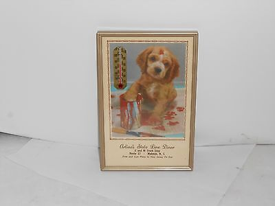 Vintage Working 1953 Advertising Diner Wall Thermometer W/ Dog Calendar