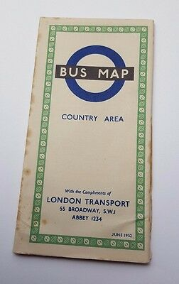 Vintage - London Transport - June 1952 - Bus Map - Country Area