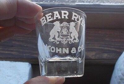 Bear Rye I.kohn & Co Emb 2 Bears Rare Chicago Pre Pro Paneled Whiskey Shot Glass