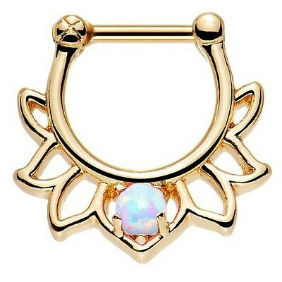 New Gold Plated over Surgical Steel White Rainbow Opal Fan Petal Septum Clicker