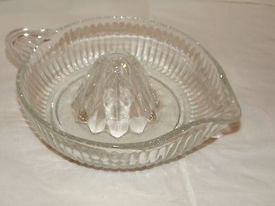 Vintage Large Heavy Pressed Clear Glass Juicer / Reamer w/Pour Spout & Handle