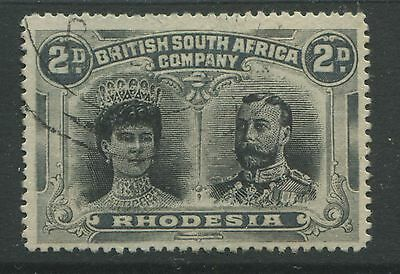 Rhodesia 1910 2d Double Head gray & black perf 15 CDS used