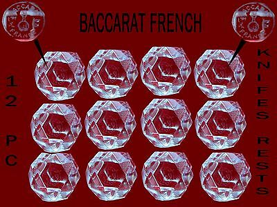 BACCARAT French crystal knifes rests  baccarat signed  12 pc w/box