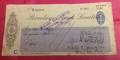 Barclays Bank Limited Cheque ,Rhyl, 1934.