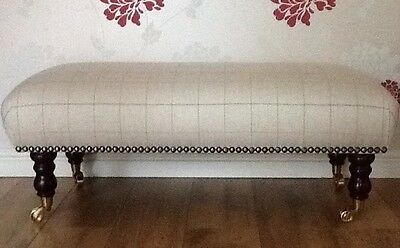 A Quality Long Footstool In Laura Ashley Orton Natural Fabric