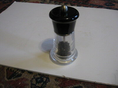 Mr. Dudley Acrylic Pepper Mill Black & Clear Art Deco Look