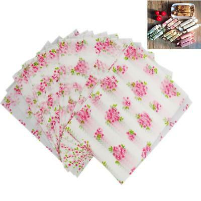 50pcs Flower Print Waterproof Dry Wax Paper Food Candy Wrapping Tissue