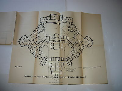 Central Indiana Hospital For Insane 1903-1906, Large Fold Out Plans/map 1908