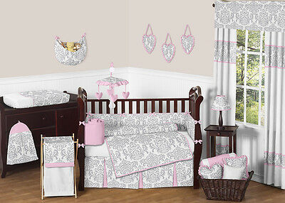 Sweet Jojo Luxury Pink and Gray Damask Baby Bedding Crib 9p Set for Newborn Girl