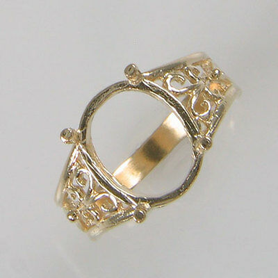 Prenotched 12X10 Oval Ring Setting Cast In 10K Yellow Gold Size 6.75 Cr2285-10Ky