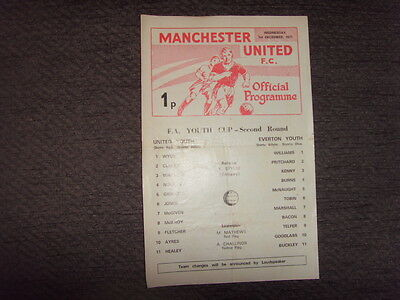 PROGRAMME - MANCHESTER UNITED v EVERTON - YOUTH CUP 1971