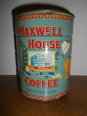 VTG Maxwell House Coffee Tin Light Blue 2 lb General Store Advertising Vintage