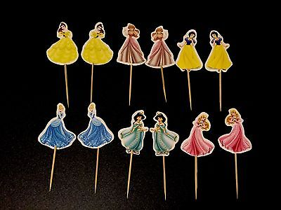 12 X Disney Princess Cake Picks / Flags Party Cupcake Toppers Birthday Doll Bell