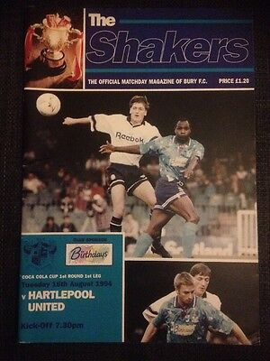 Bury Vs Hartlepool  Coca Cola League Cup 1994/95 VGC