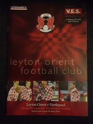 Leyton Orient Vs Hartlepool 2001/02 Division Three VGC