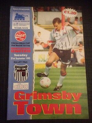 Grimsby Vs Hartlepool 1993/94 Coca Cola League Cup VGC