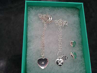 Sterling silver necklace, bracelet and earrings set 925 - boxed