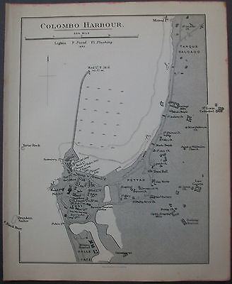1896 Colombo Bay Orient Line Sea Chart Port Antique Victorian Map