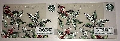 Lot of 2 - New Starbucks Card 2016 - Braille Arabica Coffee Beans Berries Plant