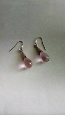Pretty sterling silver pink drop dangly earrings - 2g