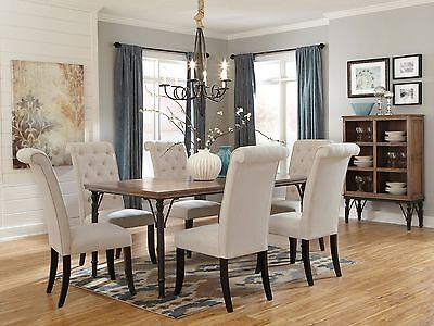 UPTOWN - 7pcs Rustic Cottage Rectangular Dining Room Table Chairs Set Furniture
