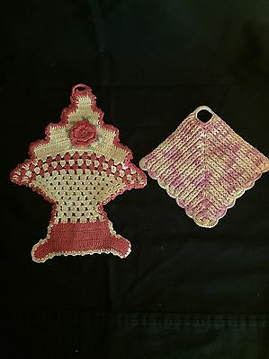 Two Vintage Crocheted Pot Holders