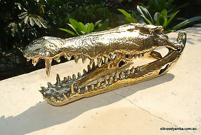 small Crocodile skull solid brass heavy decoration cute hand made 230mm polished