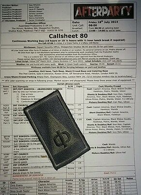 AVENGERS AGE OF ULTRON ORIGINAL FILM PROP screen used MARVEL + crew call sheet