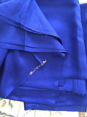 """vintage silk fabric Old Stock French Royal Blue 2 Yard 6 X 36"""" never used"""