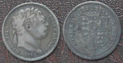 George III; 1816 silver Sixpence; toned but attractive