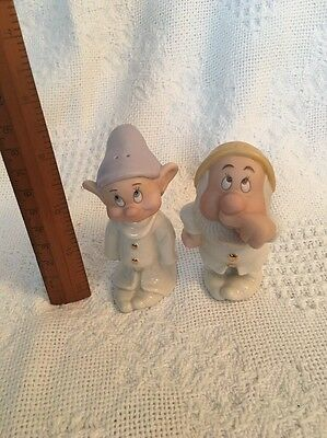 Sneezy and Dopey salt and pepper Lenox Disney Collection