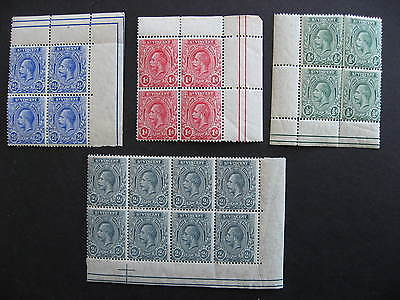 St VINCENT KGV Sc 104-7 MNH stamps in blocks (margins are hinged though)