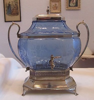 Vintage Cambridge Blue Samovar # 695 or 710 Etch Great Condition