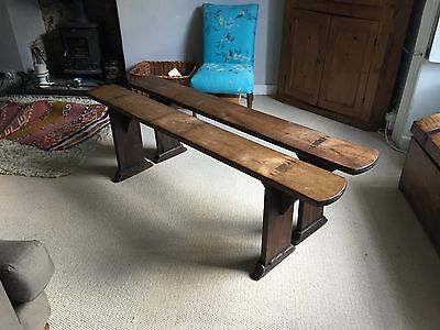 Antique Elm benches lovely pair 5 foot